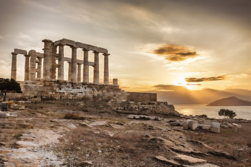 Ruins of the temple of Poseidon at Cape Sounion, Greece.